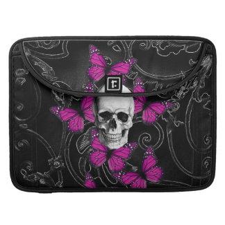 Fantasy skull and hot pink butterflies MacBook pro sleeves