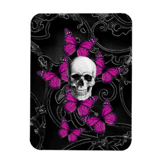 Fantasy skull and hot pink butterflies magnet