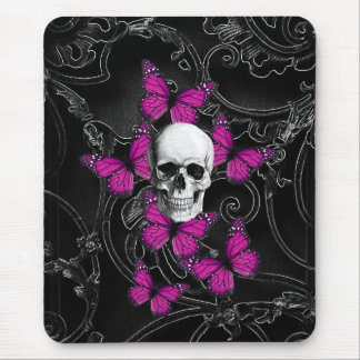 Fantasy skull and hot pink butterflies mouse pad