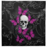 Fantasy skull and hot pink butterflies napkin