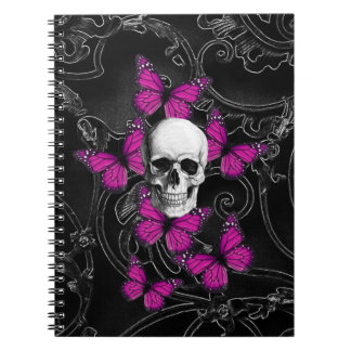 Fantasy skull and hot pink butterflies spiral note books