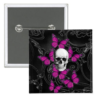Fantasy skull and hot pink butterflies pinback button