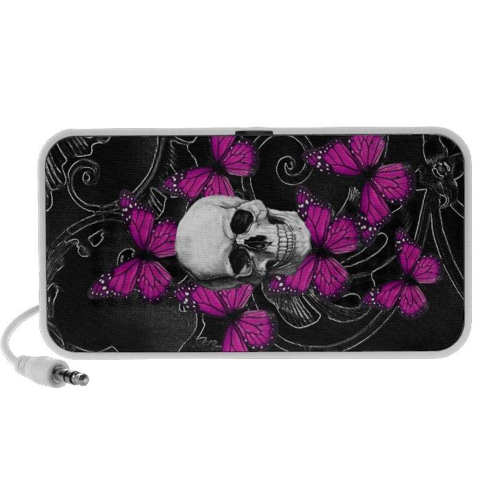 Fantasy skull and hot pink butterflies portable speaker