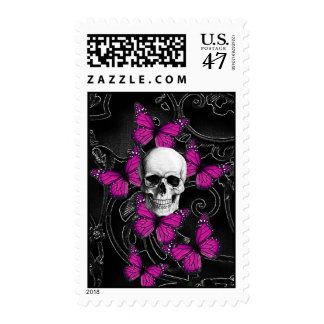 Fantasy skull and hot pink butterflies postage stamp
