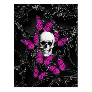 Fantasy skull and hot pink butterflies postcard