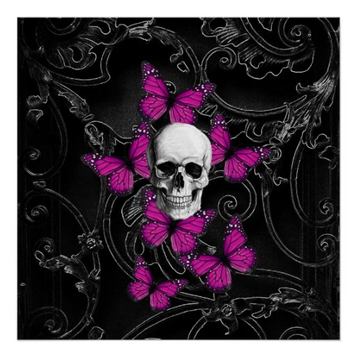 Fantasy skull and hot pink butterflies posters