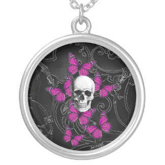 Fantasy skull and hot pink butterflies silver plated necklace