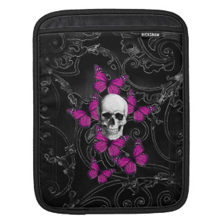 Fantasy skull and hot pink butterflies sleeve for iPads