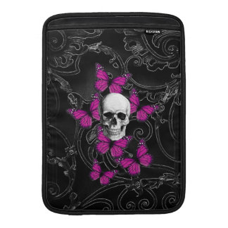 Fantasy skull and hot pink butterflies sleeve for MacBook air