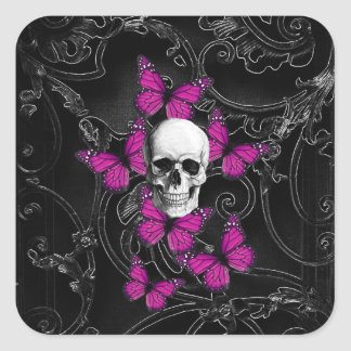 Fantasy skull and hot pink butterflies square sticker