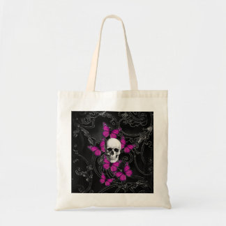 Fantasy skull and hot pink butterflies tote bag