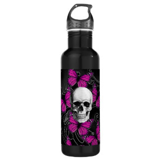 Fantasy skull and hot pink butterflies water bottle