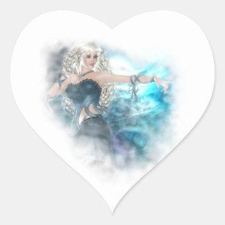 Fantasy Sky Siren Vignette Heart Sticker