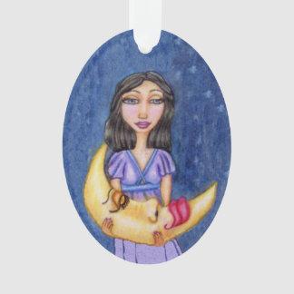 Fantasy Sleeping Crescent Moon Face Woman Ornament