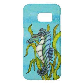 Fantasy Smiling Blue Green Seahorse in Seaweed Samsung Galaxy S7 Case