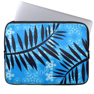 Fantasy Stars Palm Silhouette Blue Background Computer Sleeve