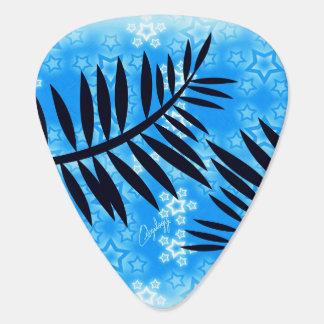 Fantasy Stars Palm Silhouette Blue Background Guitar Pick