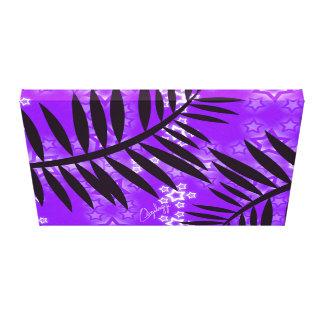 Fantasy Stars Palm Silhouette Purple Background Canvas Print