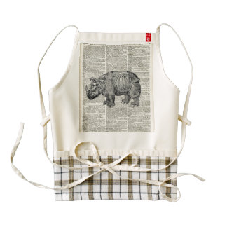 Fantasy steampunk Rhinoceros Zazzle HEART Apron