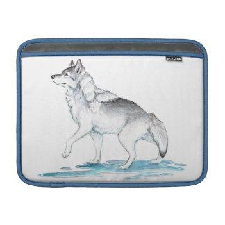 Fantasy Steel Grey Ice Creation Wolf MacBook Sleeves