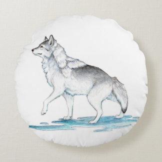 Fantasy Steel Grey Ice Creation Wolf Round Pillow