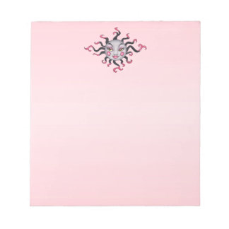 fantasy Sun Pretty Face Black Pink Rays Notepad