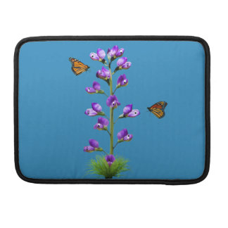 Fantasy Sweet Pea Flowers and Butterflies Sleeve For MacBook Pro