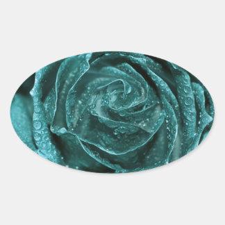 Fantasy Teal Rose Oval Sticker