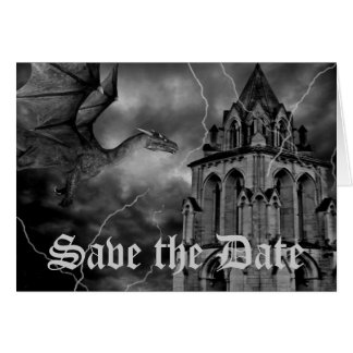 Fantasy theme wedding dragon Save the Date Card