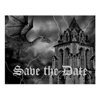 Fantasy theme wedding dragon Save the Date Postcard