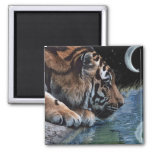 Fantasy Tiger & Moon 2 Inch Square Magnet