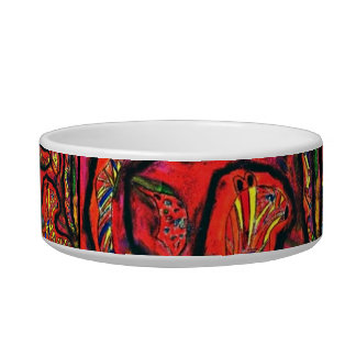 Fantasy tiger Pastel Art Cat food bowl