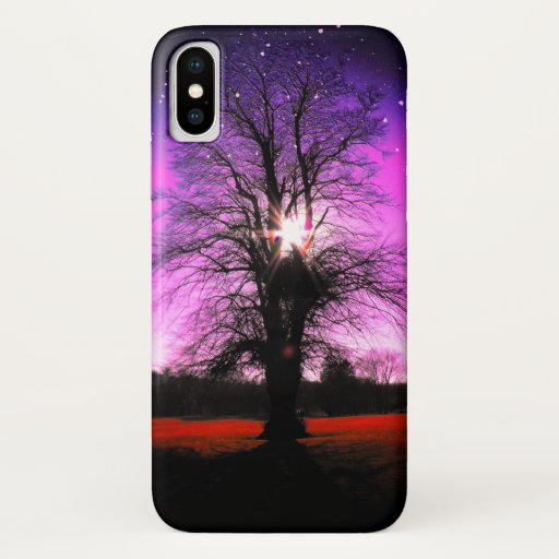 Fantasy Tree, Purple Sky, Stars and Sunshine iPhone XS Case