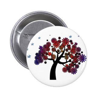 Fantasy Tree with Purple and Red Flowers and Stars 2 Inch Round Button