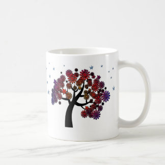 Fantasy Tree with Purple and Red Flowers and Stars Coffee Mug