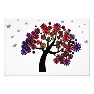 Fantasy Tree with Purple and Red Flowers and Stars Photo Print