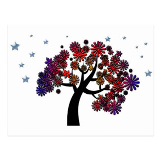 Fantasy Tree with Purple and Red Flowers and Stars Postcard
