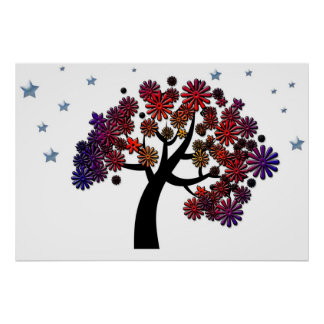 Fantasy Tree with Purple and Red Flowers and Stars Posters