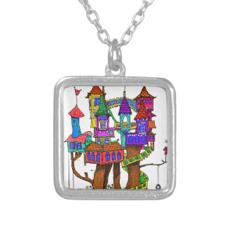 Fantasy Treehouse Silver Plated Necklace