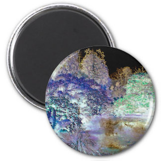Fantasy Trees Abstract Landscape 2 Inch Round Magnet