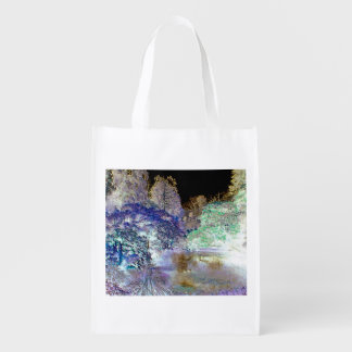 Fantasy Trees Abstract Landscape Reusable Grocery Bag