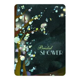 Fantasy Trees Rustic Dark Green Bridal Shower 5x7 Paper Invitation Card
