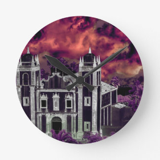 Fantasy Tropical Cityscape Aerial View Round Clock