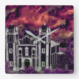 Fantasy Tropical Cityscape Aerial View Square Wall Clock
