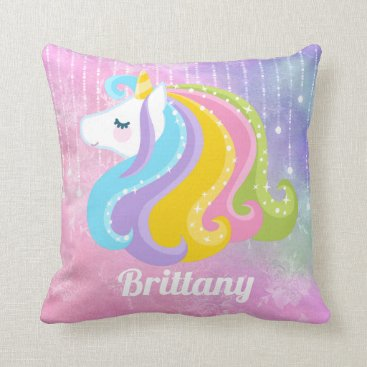 doodlesgifts Fantasy unicorn add name home decor pillow