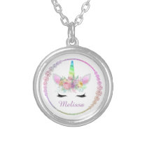 Fantasy unicorn add name necklace
