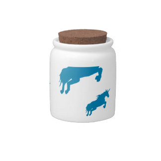 fantasy unicorns magical pattern white and blue candy jar