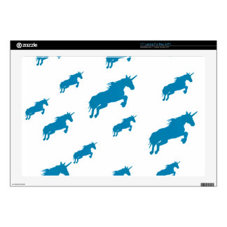 """fantasy unicorns magical pattern white and blue decal for 17"""" laptop"""