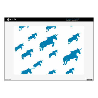 fantasy unicorns magical pattern white and blue skin for laptop