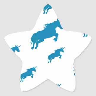 fantasy unicorns magical pattern white and blue star sticker